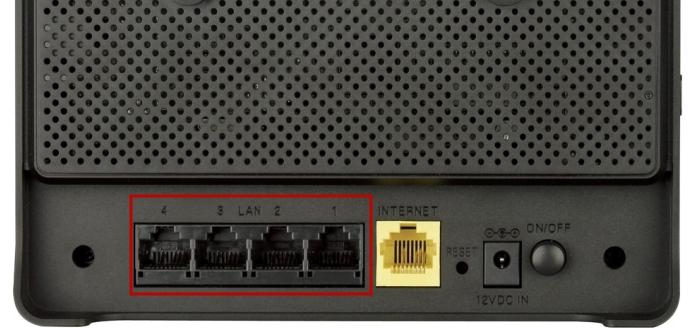 порты LAN на обратной стороне